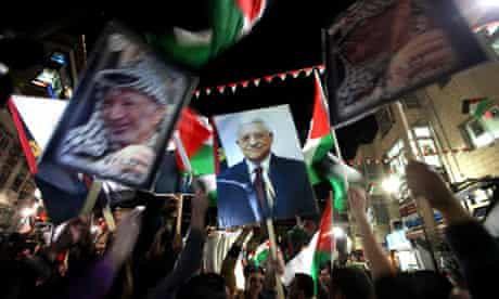 Palestinians celebrate in Ramallah after UN vote