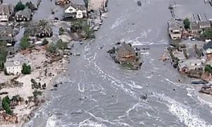 An ariel view of flooding caused by hurricane Sandy in New Jersey 2012