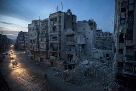 Night falls on a Syrian rebel-controlled area