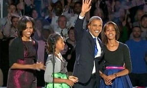 Re-elected President Obama with his family at the Democrat celebrations on election night 2012