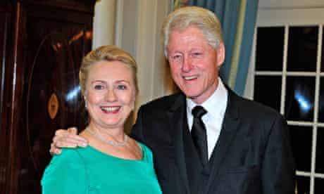 Bill and Hillary Clinton at a dinner in Washington
