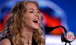 Madonna at the Super Bowl press conference