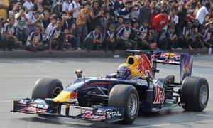 A Red Bull race car in Bangkok, Thailand, where Chaleo Yoovidhya invented the energy drink
