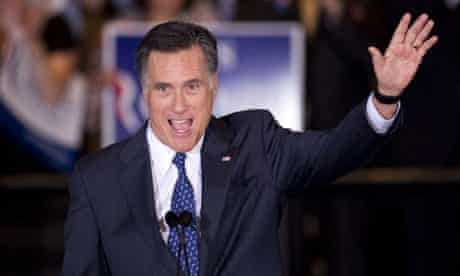 Mitt Romney celebrates winning the Illinois primary