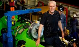 James Cameron with Deepsea Challenger submarine