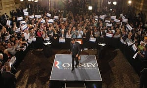 Mitt Romney leaves the podium in Milwaukee, Wisconsin