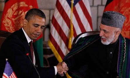 Barack Obama and Hamid Karzai