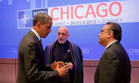 Barack Obama with Hamid Karzai and Asif Ali Zardari