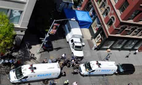Police and FBI search the Prince Street section of Soho in New York in April