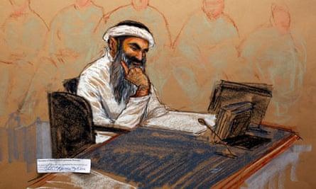 An artist's impression of Khalid Sheikh Mohammed