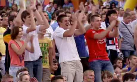 Fans cheer when England scores during a Euro 2012 game against France