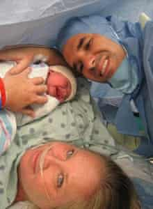 Leyna Gonzalez at birth, with parents Tammy and Alain