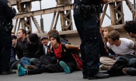 Occupy protesters on Brooklyn bridge