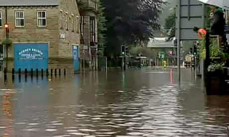 Flooded street in West Yorkshire