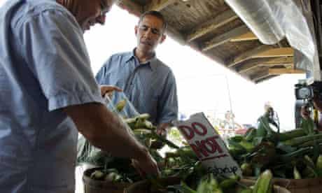 Barack Obama buys corn in Ohio