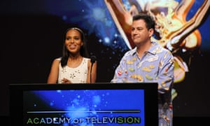 Kerry Washington and Jimmy Kimmel at the Emmys nominations