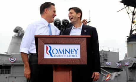 Republican US presidential candidate Mitt Romney and his vice-presidential running mate Paul Ryan
