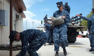 US military personnel at Guantánamo Bay prepare for Isaac to hit