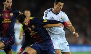 Cristiano Ronaldo of Real Madrid against Barcelona