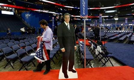 A cardboard cutout of Mitt Romney