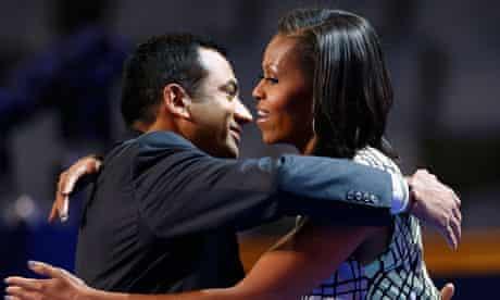 Michelle Obama hugs Obama administration official Kal Penn