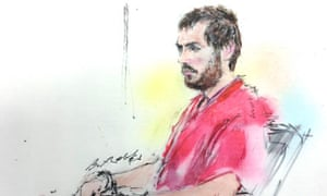 An artist's sketch of James Holmes in court in Centennial