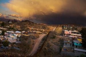 The border fence runs between Nogales, Arizona, and Nogales, Sonara