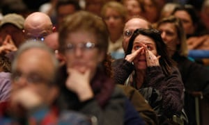 Newtown families at the public hearing