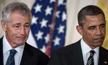 Chuck Hagel (left) with Barack Obama