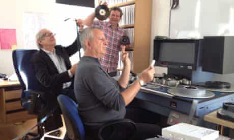 Ken Loach and co-editors re-enact an illustration sent to them by Pixar