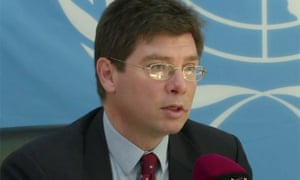 François Crépeau, UN Special Rapporteur on human rights of migrant, speaks at a news conference