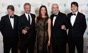 Sam Mendes and the crew of Skyfall with their Bafta for outstanding British film