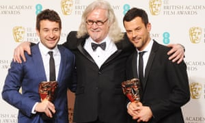 Bart Layton and Dimitri Doganis, winners of outstanding British debut, with Billy Connolly at the 2013 Baftas