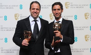 Simon Chinn and Malik Bendjelloul with their Bafts for best documentary