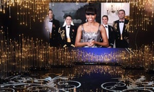Michelle Obama addresses the audience at the 85th Academy awards