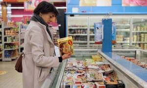 Frozen food in shop freezer