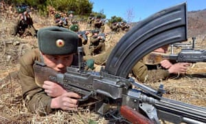 North Korean soldiers attend military drills.