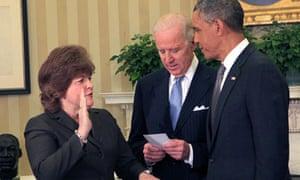 Barack Obama swears in Julia Pierson as the new secret service director