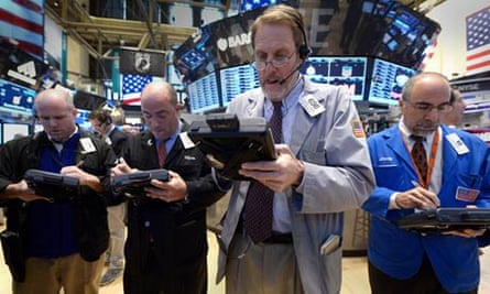 Traders on the Dow floor