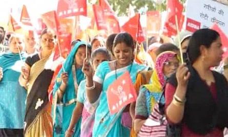 Indian women march in Delhi on International Women's Day