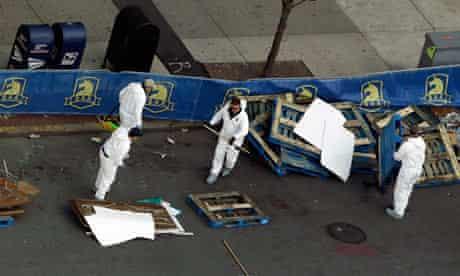 FBI investigators at the scene in Boston