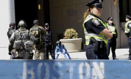 Boston police at the crime scene