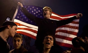 Boston residents celebrate the capture of Dzokhar Tsarnaev