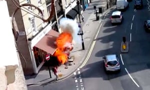 Fireball explodes from pavement in Pimlico