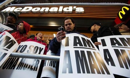 Demonstrators outside McDonald's in Times Square, New York