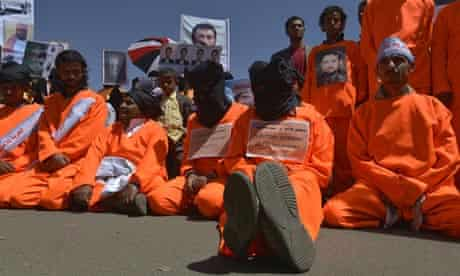 Yemeni protesters outside the US embassy in Sana'a