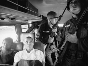 Freedom Riders on board an interstate bus in 1961