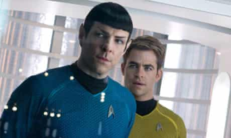 Zachary Quinto and Chris Pine in a film still from Star Trek Into Darkness