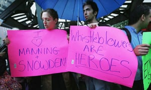 Edward Snowden supporters attend a rally at Union Square in New York