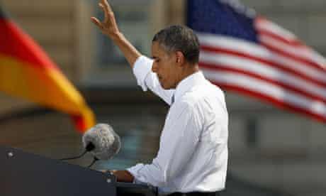 US president Barack Obama at the Brandenburg Gate